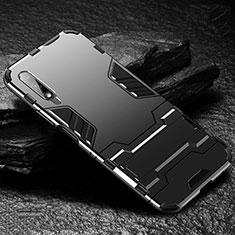 Silikon Hülle Handyhülle und Kunststoff Schutzhülle Tasche mit Ständer für Huawei Honor 9X Schwarz