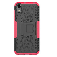 Silikon Hülle Handyhülle und Kunststoff Schutzhülle Tasche mit Ständer für Huawei Honor Play 8 Rosa