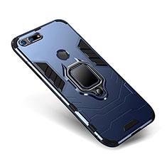 Silikon Hülle Handyhülle und Kunststoff Schutzhülle Tasche mit Ständer für Huawei Honor V20 Blau