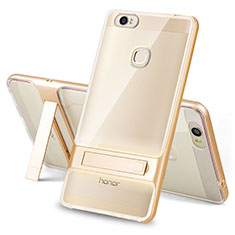 Silikon Hülle Handyhülle und Kunststoff Schutzhülle Tasche mit Ständer für Huawei Honor V8 Max Gold