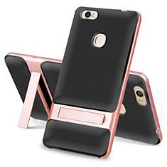 Silikon Hülle Handyhülle und Kunststoff Schutzhülle Tasche mit Ständer für Huawei Honor V8 Max Schwarz