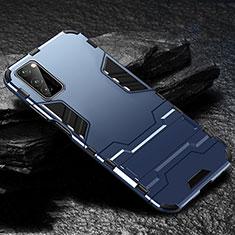 Silikon Hülle Handyhülle und Kunststoff Schutzhülle Tasche mit Ständer für Huawei Honor View 30 5G Blau