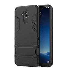 Silikon Hülle Handyhülle und Kunststoff Schutzhülle Tasche mit Ständer für Huawei Mate 20 Lite Schwarz
