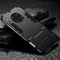 Silikon Hülle Handyhülle und Kunststoff Schutzhülle Tasche mit Ständer für Huawei Mate 30 5G Schwarz