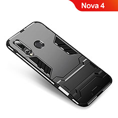 Silikon Hülle Handyhülle und Kunststoff Schutzhülle Tasche mit Ständer für Huawei Nova 4 Schwarz