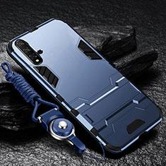 Silikon Hülle Handyhülle und Kunststoff Schutzhülle Tasche mit Ständer für Huawei Nova 5 Blau