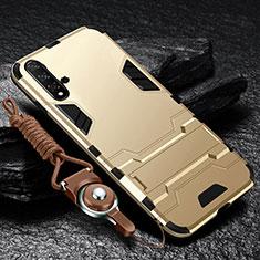 Silikon Hülle Handyhülle und Kunststoff Schutzhülle Tasche mit Ständer für Huawei Nova 5 Gold