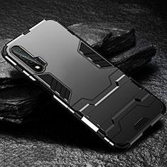 Silikon Hülle Handyhülle und Kunststoff Schutzhülle Tasche mit Ständer für Huawei Nova 6 5G Schwarz