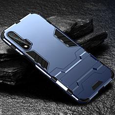 Silikon Hülle Handyhülle und Kunststoff Schutzhülle Tasche mit Ständer für Huawei Nova 6 Blau
