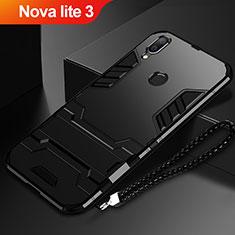 Silikon Hülle Handyhülle und Kunststoff Schutzhülle Tasche mit Ständer für Huawei Nova Lite 3 Schwarz
