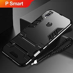 Silikon Hülle Handyhülle und Kunststoff Schutzhülle Tasche mit Ständer für Huawei P Smart (2019) Schwarz