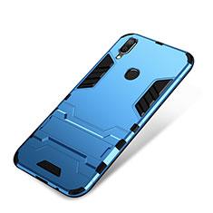 Silikon Hülle Handyhülle und Kunststoff Schutzhülle Tasche mit Ständer für Huawei P Smart+ Plus Blau