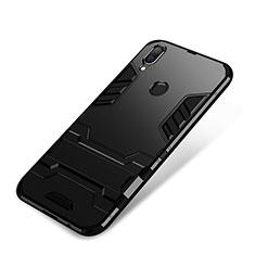 Silikon Hülle Handyhülle und Kunststoff Schutzhülle Tasche mit Ständer für Huawei P Smart+ Plus Schwarz