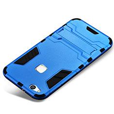 Silikon Hülle Handyhülle und Kunststoff Schutzhülle Tasche mit Ständer für Huawei P10 Lite Blau