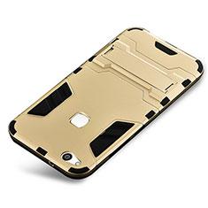 Silikon Hülle Handyhülle und Kunststoff Schutzhülle Tasche mit Ständer für Huawei P10 Lite Gold