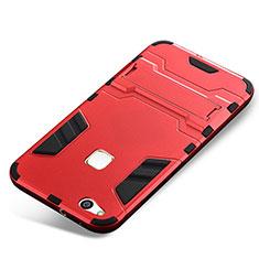 Silikon Hülle Handyhülle und Kunststoff Schutzhülle Tasche mit Ständer für Huawei P10 Lite Rot