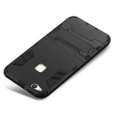 Silikon Hülle Handyhülle und Kunststoff Schutzhülle Tasche mit Ständer für Huawei P10 Lite Schwarz