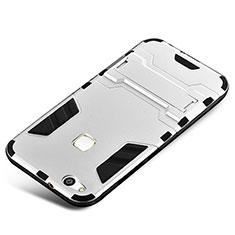 Silikon Hülle Handyhülle und Kunststoff Schutzhülle Tasche mit Ständer für Huawei P10 Lite Silber