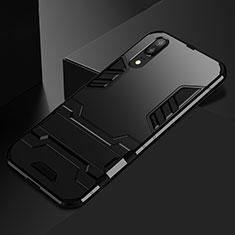 Silikon Hülle Handyhülle und Kunststoff Schutzhülle Tasche mit Ständer für Huawei P20 Schwarz