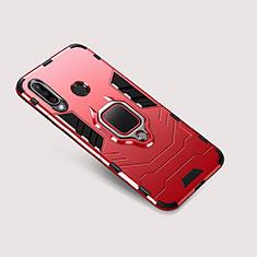 Silikon Hülle Handyhülle und Kunststoff Schutzhülle Tasche mit Ständer für Huawei P30 Lite Rot