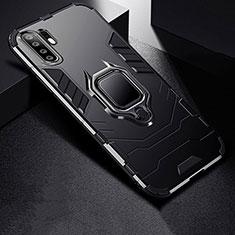 Silikon Hülle Handyhülle und Kunststoff Schutzhülle Tasche mit Ständer für Huawei P30 Pro Schwarz