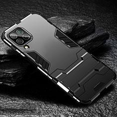 Silikon Hülle Handyhülle und Kunststoff Schutzhülle Tasche mit Ständer für Huawei P40 Lite Schwarz