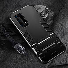 Silikon Hülle Handyhülle und Kunststoff Schutzhülle Tasche mit Ständer für Huawei P40 Pro+ Plus Schwarz
