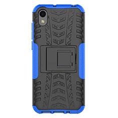 Silikon Hülle Handyhülle und Kunststoff Schutzhülle Tasche mit Ständer für Huawei Y5 (2019) Blau