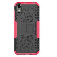 Silikon Hülle Handyhülle und Kunststoff Schutzhülle Tasche mit Ständer für Huawei Y5 (2019) Rosa