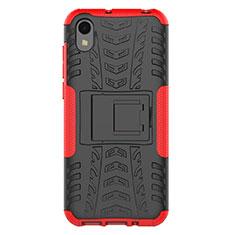 Silikon Hülle Handyhülle und Kunststoff Schutzhülle Tasche mit Ständer für Huawei Y5 (2019) Rot