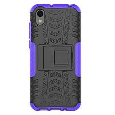 Silikon Hülle Handyhülle und Kunststoff Schutzhülle Tasche mit Ständer für Huawei Y5 (2019) Violett