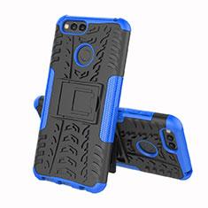 Silikon Hülle Handyhülle und Kunststoff Schutzhülle Tasche mit Ständer für Huawei Y6 (2018) Blau