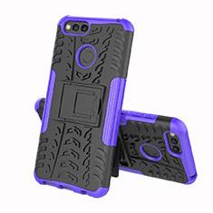 Silikon Hülle Handyhülle und Kunststoff Schutzhülle Tasche mit Ständer für Huawei Y6 (2018) Violett