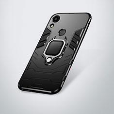 Silikon Hülle Handyhülle und Kunststoff Schutzhülle Tasche mit Ständer für Huawei Y6 (2019) Schwarz