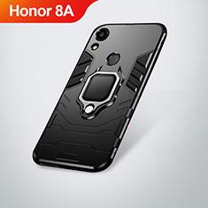 Silikon Hülle Handyhülle und Kunststoff Schutzhülle Tasche mit Ständer für Huawei Y6 Pro (2019) Schwarz