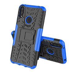 Silikon Hülle Handyhülle und Kunststoff Schutzhülle Tasche mit Ständer für Huawei Y7 (2019) Blau