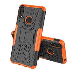 Silikon Hülle Handyhülle und Kunststoff Schutzhülle Tasche mit Ständer für Huawei Y7 (2019) Orange