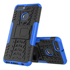 Silikon Hülle Handyhülle und Kunststoff Schutzhülle Tasche mit Ständer für Huawei Y9 (2018) Blau