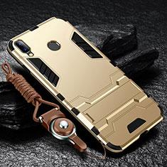 Silikon Hülle Handyhülle und Kunststoff Schutzhülle Tasche mit Ständer für Huawei Y9 (2019) Gold