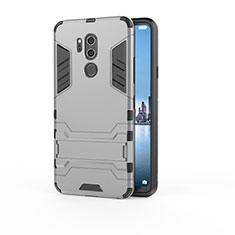Silikon Hülle Handyhülle und Kunststoff Schutzhülle Tasche mit Ständer für LG G7 Grau