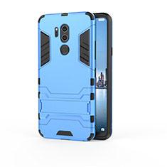 Silikon Hülle Handyhülle und Kunststoff Schutzhülle Tasche mit Ständer für LG G7 Hellblau