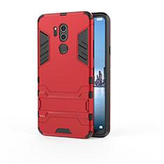 Silikon Hülle Handyhülle und Kunststoff Schutzhülle Tasche mit Ständer für LG G7 Rot