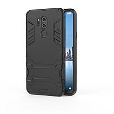 Silikon Hülle Handyhülle und Kunststoff Schutzhülle Tasche mit Ständer für LG G7 Schwarz