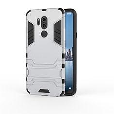 Silikon Hülle Handyhülle und Kunststoff Schutzhülle Tasche mit Ständer für LG G7 Silber