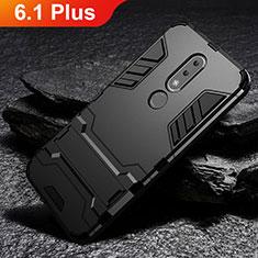 Silikon Hülle Handyhülle und Kunststoff Schutzhülle Tasche mit Ständer für Nokia 6.1 Plus Schwarz
