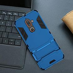 Silikon Hülle Handyhülle und Kunststoff Schutzhülle Tasche mit Ständer für Nokia 7 Plus Blau