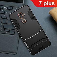 Silikon Hülle Handyhülle und Kunststoff Schutzhülle Tasche mit Ständer für Nokia 7 Plus Schwarz