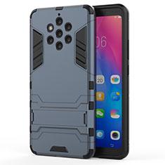 Silikon Hülle Handyhülle und Kunststoff Schutzhülle Tasche mit Ständer für Nokia 9 PureView Blau