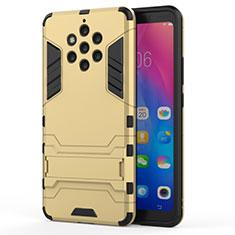 Silikon Hülle Handyhülle und Kunststoff Schutzhülle Tasche mit Ständer für Nokia 9 PureView Gold