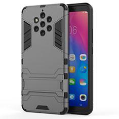 Silikon Hülle Handyhülle und Kunststoff Schutzhülle Tasche mit Ständer für Nokia 9 PureView Grau
